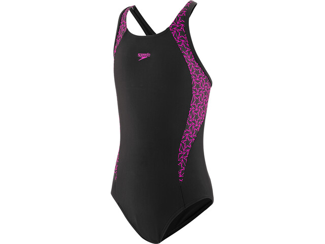 speedo Boomstar Splice Flyback Swimsuit Girls black/electric pink